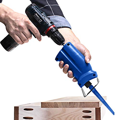AUTOTOOLHOME Reciprocating Saw Adapter Electric Drill Attachment Power Tool Accessories with 3 Reciprocating Saw Blades for Cordless Power Drill