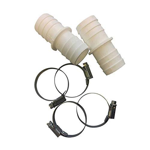 Schlauchverbinder (2er Pack mit 4 VA Schellen) Ø 32 mm auf Ø 38 mm - Fitting - Schlauchtüle - Schlauchverbindung