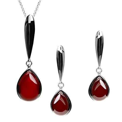Cherry ámbar de plata de ley pendientes de gota colgante collar Set cadena 41cm