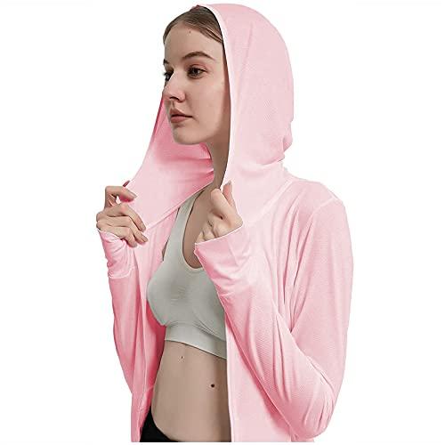 Damen Sonnenschutzjacke Hoodie UPF 50+ SPF Shirt Langarm Leichtes Wandern Outdoor Shirt Full Zip