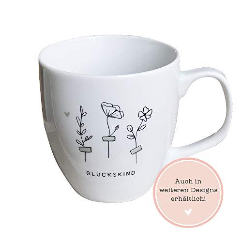 Odernichtoderdoch Jumbo-Tasse Glückskind - Kaffeebecher aus Porzellan mit Wildblumen-Motiv - Volumen 0,4 l, Höhe 9,5 cm, weiß
