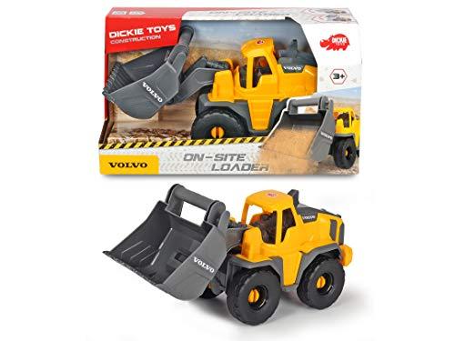 Dickie Toys Volvo Freilauf Radlader, Spielzeug Bagger, Baustellenfahrzeug, bewegliche Schaufel und kippbar, offene Kabine, Länge 26 cm, gelb/grau