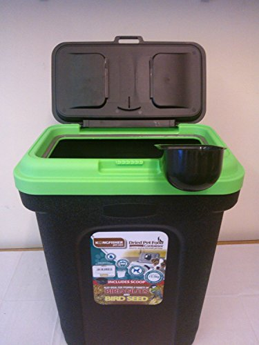 Lacasa Bedding PET FOOD STORAGE CONTAINER BLACK. HOLDS 15.5KG. GREEN LID....