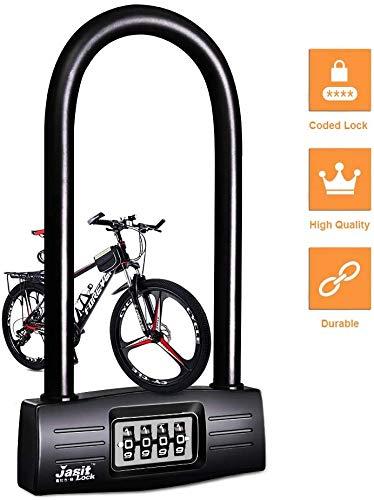 Candado en U Bicicleta,combinación de 4 dígitos, Bloqueo en U, reajustable, Bloqueo de Seguridad, Llave antipérdida, antirrobo, Bloqueo de (Black)