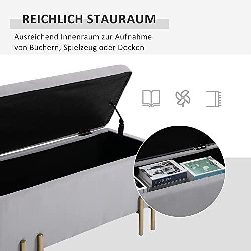 HOMCOM Sitzbank, Polsterbank mit Stauraum, Truhenbank, Stoff, Metall, Schaumstoff, Hellgrau, 100 x 40 x 42 cm - 6