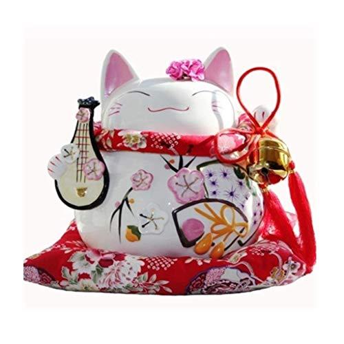 YUQI 8 Pulgadas Lucky Cat Box-Neko Maneki de cerámica Afortunado Chino Gato Que tienta Gato de la Fortuna Figuras Lucky Charm Dinero a casa Adornos (Color : C)