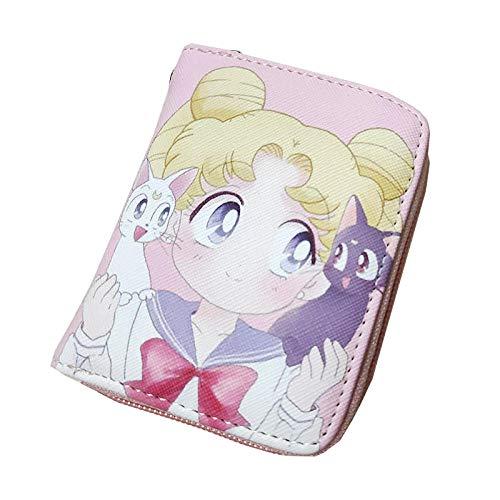 ZHOUBIN Portafoglio Anime Cerniera Corta in PU Rosa Sailor Moon Manga Portamonete con Scomparto per Le Monete Porta Carte di Credito borsello portacarte for Uomo Donna