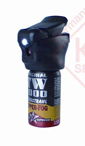 Pfefferspray 40 ml Flüssigkeitsstrahl inkl. LED TW1000 Abwehrspray