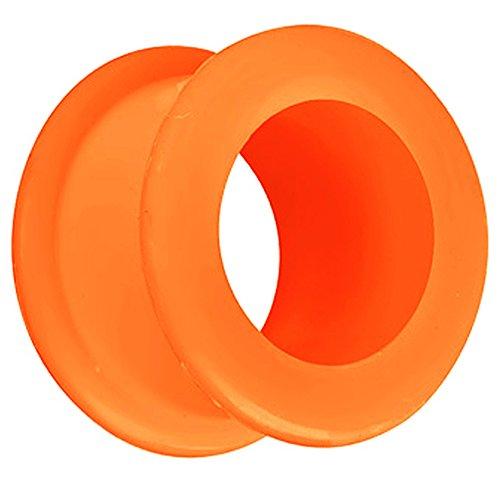 Piersando Silikon Flesh Tunnel Ohr Plug Piercing Ohrpiercing Extra Big Flexibel Weich Soft XXL 10mm Orange