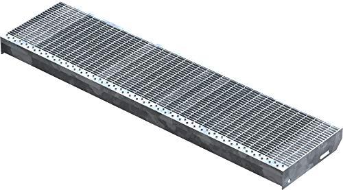 Fenau   Gitterrost-Stufe (R11) XSL – Maße: 1200 x 305 mm - MW: 30 mm / 10 mm - Vollbad-Feuerverzinkt – Stahl-Treppenstufe nach DIN-Norm   Fluchttreppen geeignet/Anti-Rutsch-Wirkung