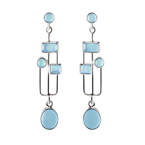 Franki Baker Art & Craft Style Blue Green Chalcedony Gemstones & Sterling Silver Drop Dangle Earrings. Length:5.5cm