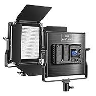 Neewer Aggiornato Pannello Luce LED Dimmerabile Bicolore con LCD Display, per Studio Youtube Foto di Prodotti Registrazioni, 660 Bulbi, CRI 96+, Guscio in Metallo, Staffa-U di Montaggio & Barndoor