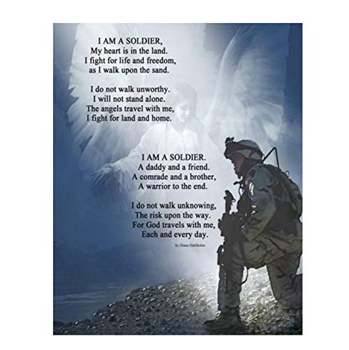 'I Am a Soldier'- Prayer Wall Art Print-8 x 10'-Ready to Frame. Soldier Kneeling w/Angels Protection. Home- Office Décor- Christian Gifts. Inspiring & Encouraging Quotes for All Military & Family.