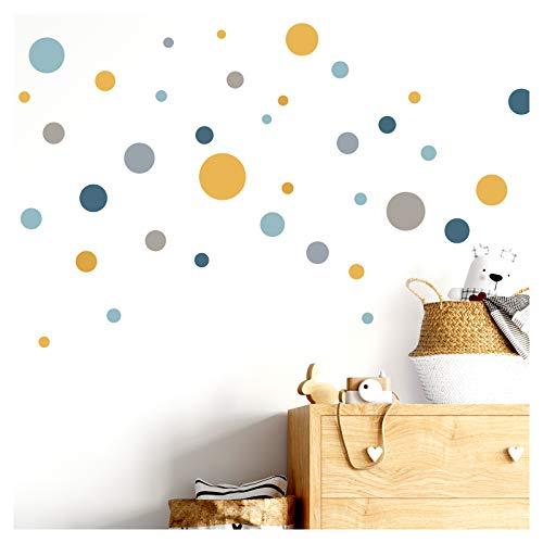 Little Deco Wandaufkleber 86 Punkte Kinderzimmer Mädchen Kreise Junge I blau gelb Mint I Wandtattoo Klebepunkte Wandsticker Set Dots bunt selbstklebend DL386