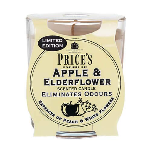 Prices Limited Edition Odour Eliminating Apple and Elderflower Scented Candle with Glass Holder