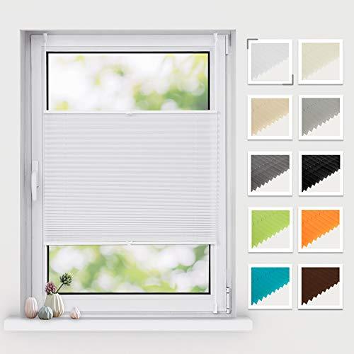BelleMax Plissee ohne Bohren klemmfix, Jalousie Plisseerollo mit Klemmträger, Easyfix lichtdurchlässig Sichtschutz Sonnenschutz, Faltrollo für Fenster & Tür, (90x100cm, Weiß)