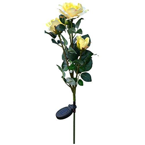 Gosear en Plein air Solar Propulsé 3 Del Artificiel Rose Fleur Lumière Lampe Jeu pour Accueil Jardin Yard Pelouse Voie de Parti Décoratifs Paysage Jaune