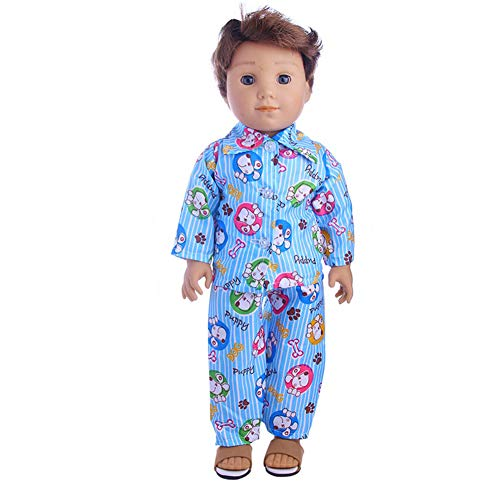 BeesClover Nightwear Set for 18 Inch Boy Dolls Cute Mini Clothes Accessories for Dolls N1154 18 inch American Doll Clothes
