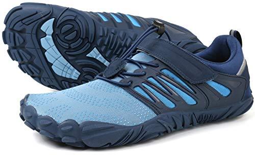 WHITIN Men's Trail Running Shoes Minimalist Barefoot 5 Five Fingers Wide Width Toe Box Gym Workout Fitness Low Zero Drop Male Lightweight Minimus Tennis Flat Comfort Blue Size 9.5
