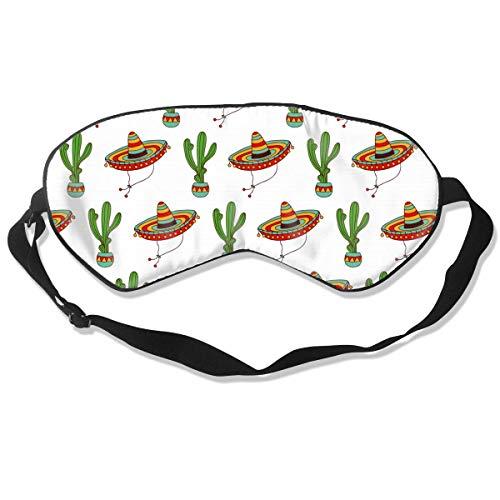 Vrouwen Mannen Tieners Luxe Super Zachte Slaap Oogmasker Blinddoek met Verstelbare Strap, Grappige Regenboog Aliens, Oogdekking Oogschaduw voor Slapen/Reizen/Nap Eén maat Mexicaanse Sombrero Hoed Cactus
