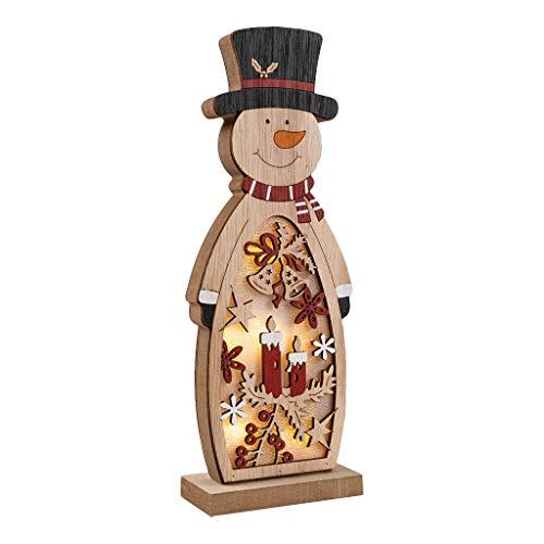 Zegeey Weihnachtsschmuck Weihnachtsdeko Holz LED beleuchtet Elch Schneemann Nachttischlampe Basteln 1 Stück(A,26.5x9.8x5cm)