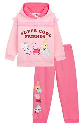 Peppa Pig Chandal Niña, Conjunto de 2 Piezas Sudadera niña con Capucha y Pantalon Chandal Rosa, Ropa Niña Deporte, Regalos Para Niñas Edad 18 Meses - 6 Años (Rosa, 3-4 años)