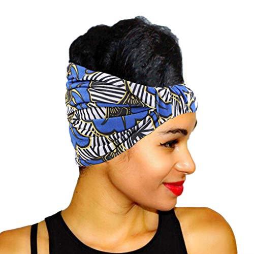 VEED Diadema elástica ultra ancha para mujer con rayas geométricas de color floral africano impresión diadema plisada elástica turbante azul real