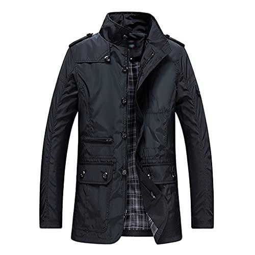 DSFEOIGY Classic Long Men Trench Coat for Thin Male Casual Zipper Windbreaker Streetwear Outerwear Baggy Varsity Jacket (Color : B, Size : M Code)