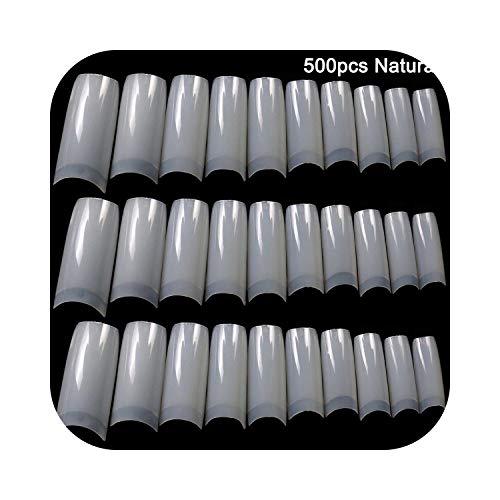 Autocollant à ongles complet 100 / 500pcs ongles moitié français faux ongles conseils d'art acrylique UV Gel manucure pointe @ ME88-500pcs naturel A-,