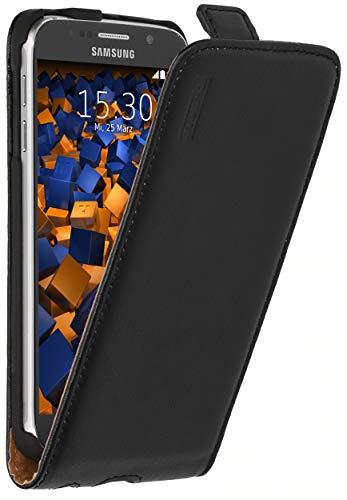 mumbi Echt Leder Flip Case kompatibel mit Samsung Galaxy S6 / S6 Duos Hülle Leder Tasche Case Wallet, schwarz