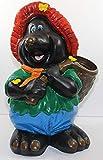 Dekorationsfigur Maulwurf mit Korb, Sack auf Rücken Deko Gartenfigur aus Kunstharz H 45 cm