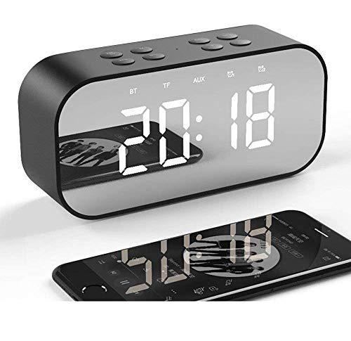 Salandens Reloj despertador digital, bocina bluetooth, sonido estéreo, altavoz inalámbrico Bluetooth 5.0, portátil, micrófono integrado. Entrada de auxiliar tamaño 3.5mm AUX/Micro SD/TF/USB, ideal para viajar, pantalla tipo Espejo(Negro)