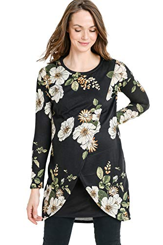 Product Image of the HELLO MIZ Women's Sweater Knit Long Sleeve Maternity Nursing Tunic Dress