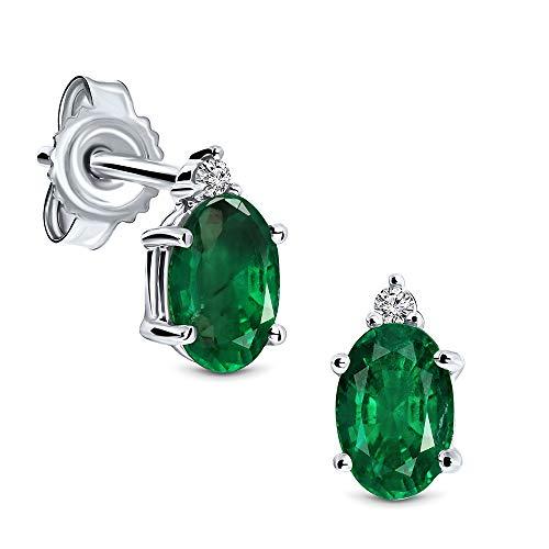 Miore Ohrringe Damen 0.02 Ct Diamant ovale Ohrhänger mit Edelstein/Geburtsstein Smaragd in grün aus Weißgold 9 Karat / 375 Gold, Ohrschmuck mit Diamanten Brillanten