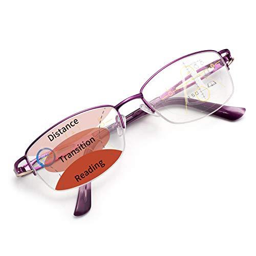 LianSan 累進多焦点遠近両用老眼鏡(境目のない遠近両用メガネ)ブルーライトカット UVカット シニアグラス おしゃれ コンパクト パソコン・スマホ用 ケース めがね拭き付き レディース 眼鏡LS34100PL300