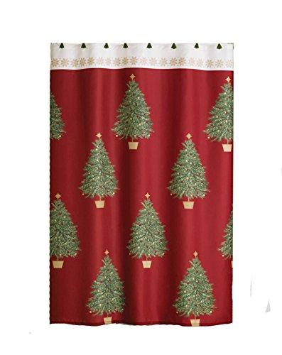 Winter Wonderland Traditional Christmas Tree Shower Curtain & Hook Set
