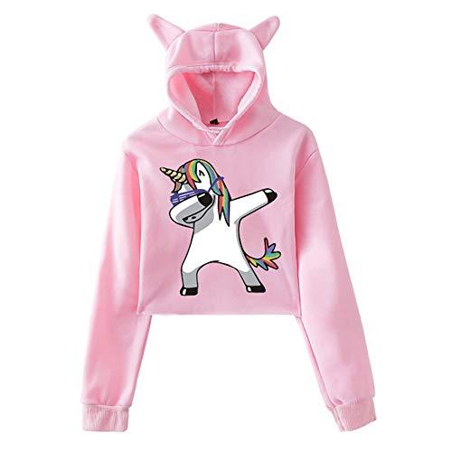 Elegante Sudadera Corto Unicornio Mujer/Niña Otoño Exponiendo la Cintura Sudadera con Capucha de Moda Lindo Orejas de Gato de Manga Larga Hooded Sweatshirt Casual (Rosa XXS)