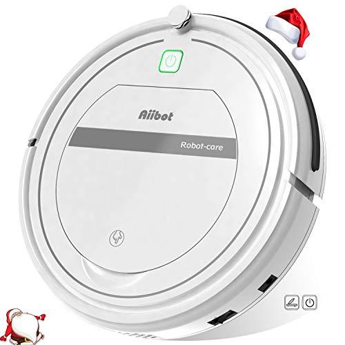 Aiibot Robot Aspirador Limpieza Inteligente, Succión Poderosa, Apto para Pelo Animal/Suelo de Madera/de Baldosa/Alfombra, Sistema de Prevención de Caída, Dual Filtro, Control Remoto (Blanco-288)