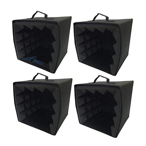 Super Dash 4 Piezas (27 X 27 X 28 Cm) Cubo Piramide GrabacioN De Sonido Cabina De Insonorizacion Estudio De La Caja De La Espuma De Aislamiento Escudo Filtro Cubo De Voz Cabina De Bricolaje SD1159