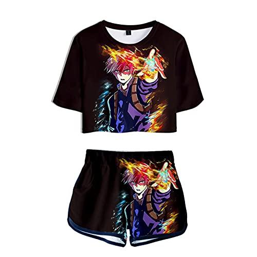 WWZY Anime My Hero Academia Trajes de Impresión 3D Todoroki Shoto Manga Corta Top T-Shirt Shorts Sexy Ombligo Conjuntos Anime Cosplay Camisetas y Pantalones Cortos Disfraz Mujer,Negro,XS