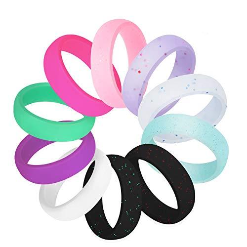 Kebaner 10 Pack 5.7MM Men Women Flexible Comfort Sport Ring Silicone Wedding Ring Birthday Anniversary 8