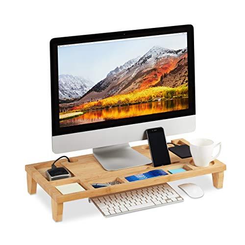 Relaxdays, Natur Monitorständer Bambus, Bildschirmständer mit 8 Fächern, Bildschirmerhöhung f. Laptop, HBT 9 x 60 x 30cm, Standard
