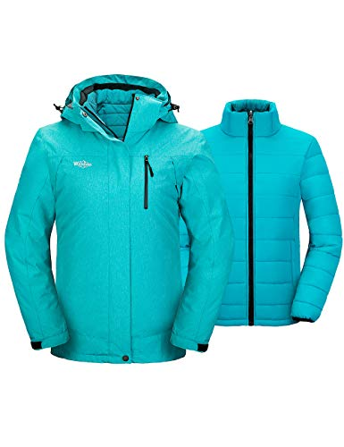 Wantdo Women's 3-in-1 Snow Coat Waterproof Ski Jacket Windproof Winter Puffer Coats Turquoise XL