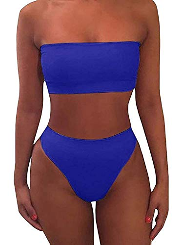 Jeanewpole1 Womens Bandeau Bikini Swimsuits High Cut Strapless Bathing Suit Blue
