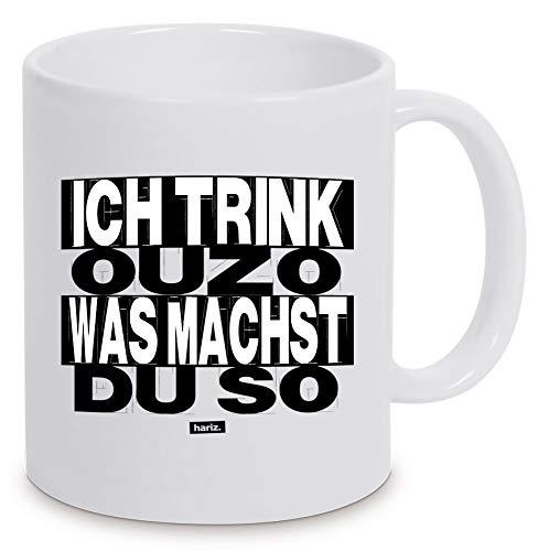 HARIZ Tasse Weiß Ich Trink Ouzo was Machst Du So Sprüche Weiß One Size