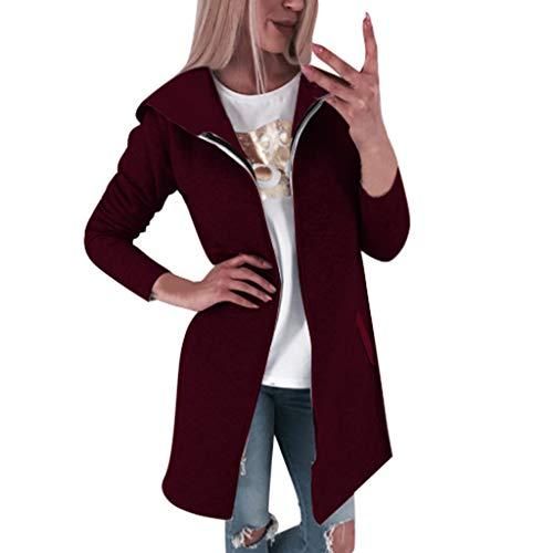 Amcool Jacke Damen, 2019 Sweatjacke Herbst Winter Lang Fleecejacke Einfarbig Casual Hoodie Pullover Kapuzenpulli Outwear mit Tasche