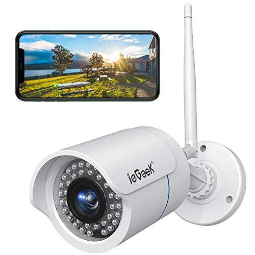 ieGeek Cámara de Vigilancia Exterior, Cámara de Seguridad Wi-Fi 1080P, Versión Nocturna 25M, Impermeable IP66, Detección de Movimiento, Empuje de Alarma, Vista Remota con Android/iOS/PC