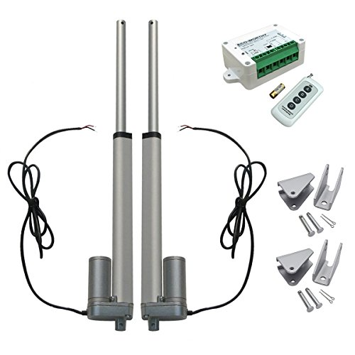 DCHOUSE 2 unids 10 pulgadas accionador lineal 12 voltios 12 V DC 250 mm linear movimiento actuador inalámbrico kit de control remoto con soportes de montaje de motor lineal
