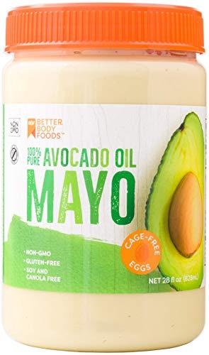 BetterBody Foods Avocado Oil Mayonnaise Avocado Oil Mayo is made with 100% Avocado Oil Non-GMO Cage-Free Eggs Soy & Canola Free 28 Ounce Paleo