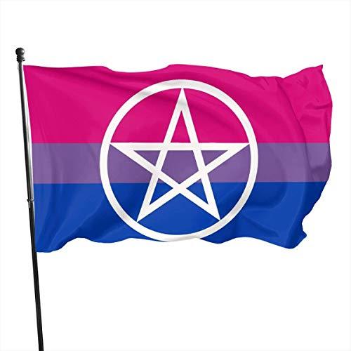 Kenice 3X5 Ft,Verandafahne,Garten Fahne Vertikal,Garten Flagge,Willkommensflagge,Hexen-Pentagramm-Bi-Stolz-Flagge